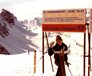 WooFDriver in 1982 skiing the Italian Alps